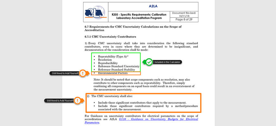 Uncertainty Calculator Meets A2LA R205 Requirements