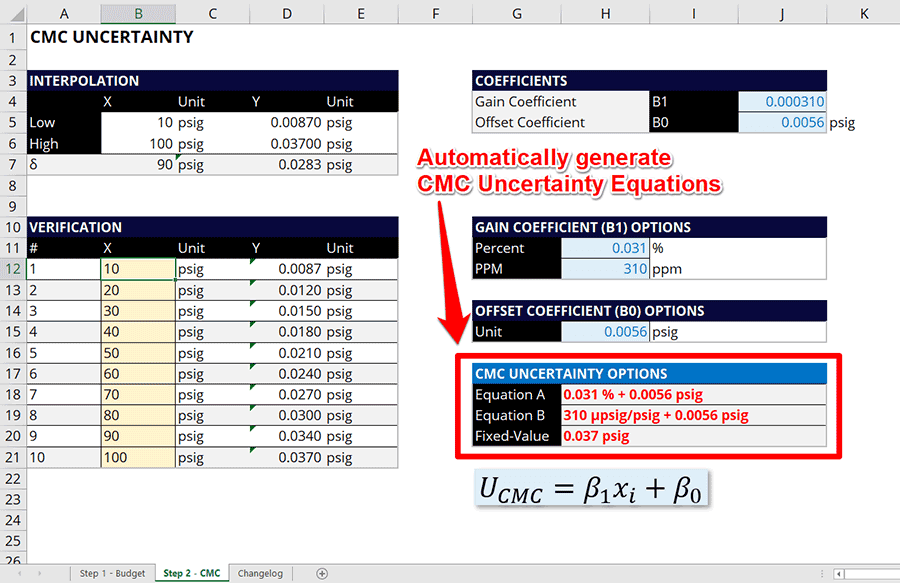 Simple Uncertainty Calculator Automatic CMC Uncertainty Equations