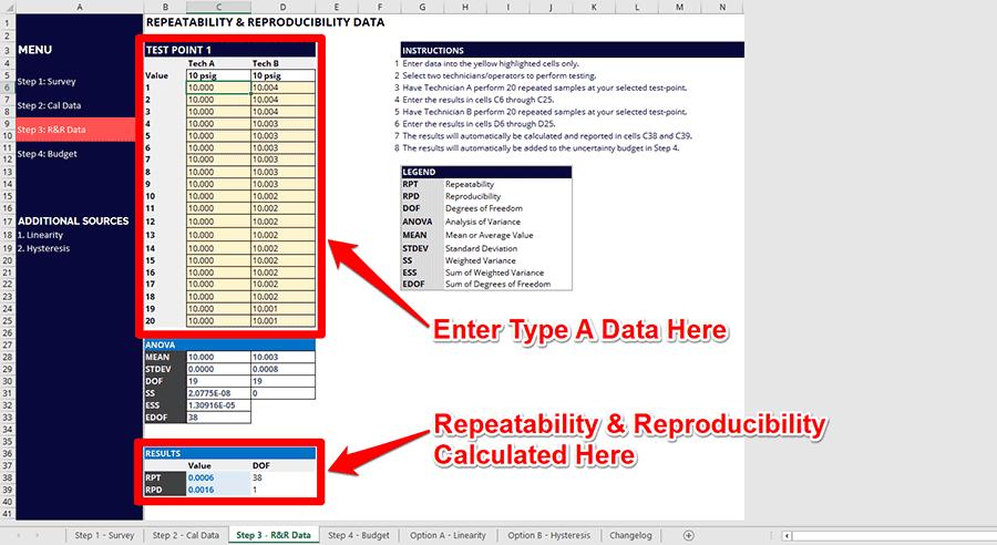 Repeatability and Reproducibility Calculator
