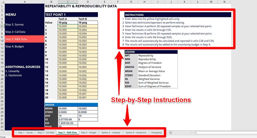 Uncertainty Calculator Instructions
