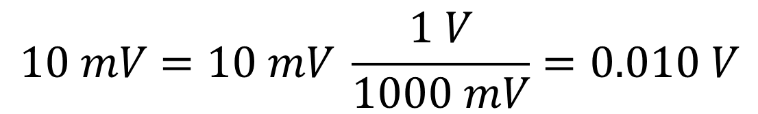 convert volts to mV