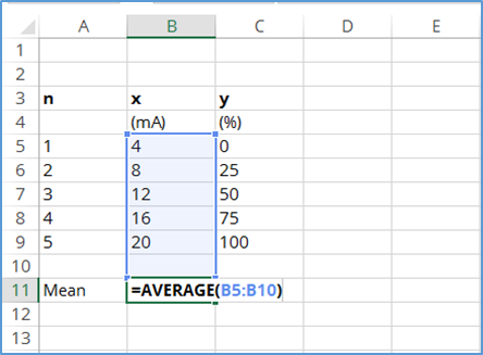 calculate mean of x