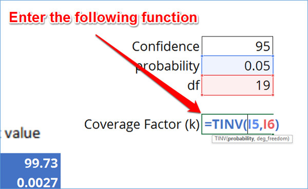 Coverage Factor Calculator TINV function