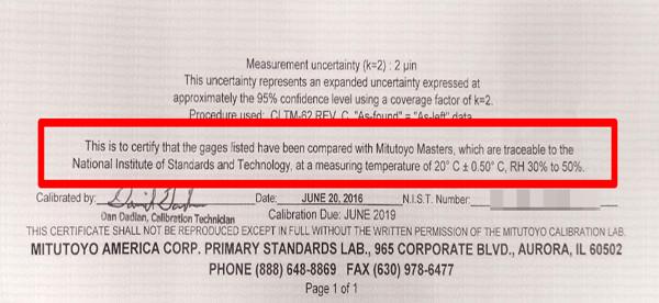 mitutoyo calibration report traceability statement