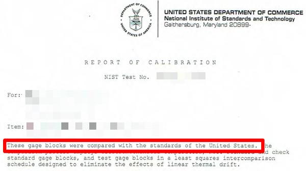 nist traceable calibration report statement