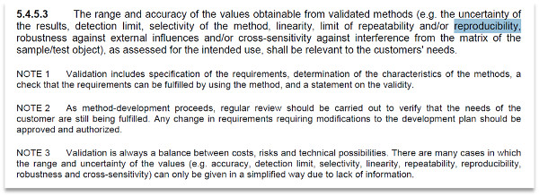 reproducibility iso 17025 requirements