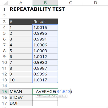 calculate mean for repeatability test
