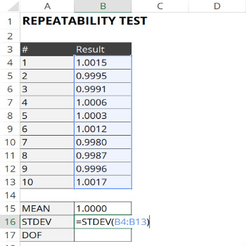 calculate standard deviation for repeatability test