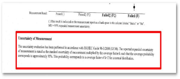 Keysight certificate uncertainty statement