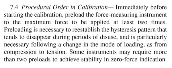 reduce hysteresis in force calibration