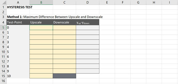 calculate hysteresis method 1 create a table in excel