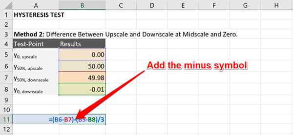 calculate hysteresis method 2 subtract midscale and zero