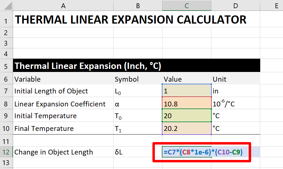 thermal-expansion-calculator-step 5c: the excel formula