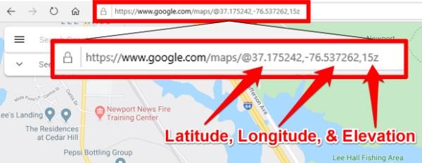 Google Maps Latitude, Longitude, and Elevation