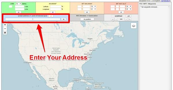 Enter Address at Geoplaner