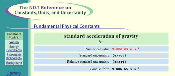Standard Gravity Value 9.80665 m/s/s NIST