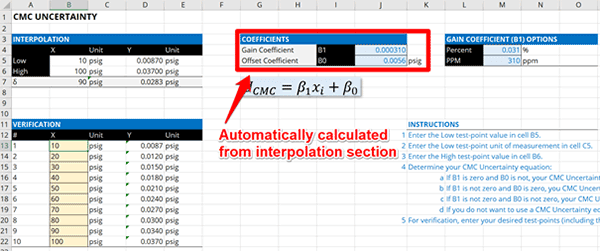 CMC Uncertainty Coefficient Calculator