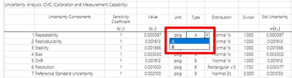 Uncertainty Calculator Select Uncertainty Type