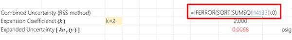 Excel Uncertainty Calculator Combined Uncertainty Formula