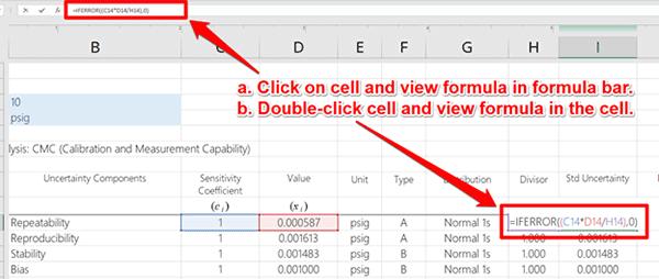 Excel Uncertainty Calculator View Formula