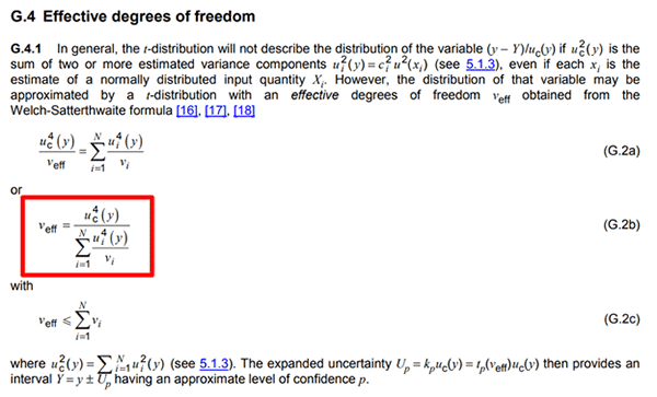 Effective Degrees of Freedom Formula in the GUM