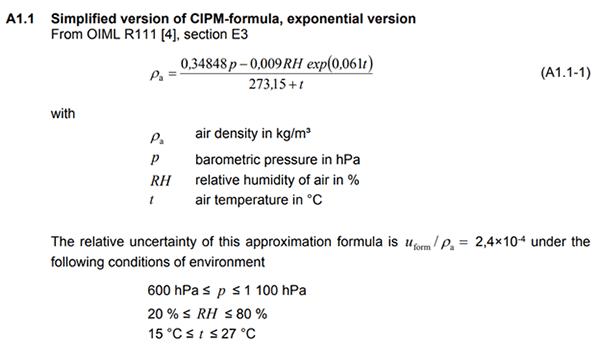 CIPM air density formula