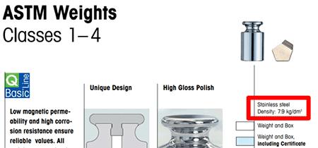 ASTM class weights mass density