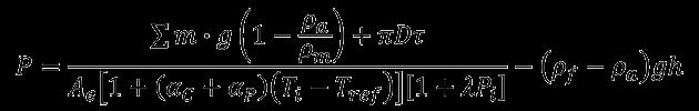 dead weight tester formula pneumatic (gas)