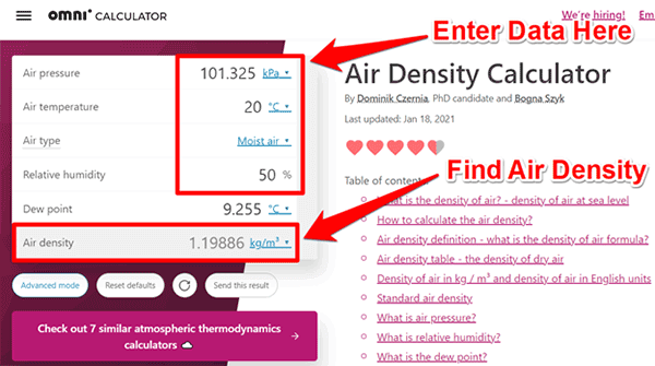 Omni air density calculator